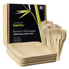 Eco Friendly Premium Bamboo Plates and Bamboo Cutlery Set
